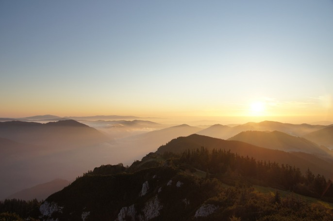 Mountains Mountain Sea Of Fog Hochlantsch Sunrise